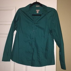 Green no iron button up shirt Chico's brand size 1